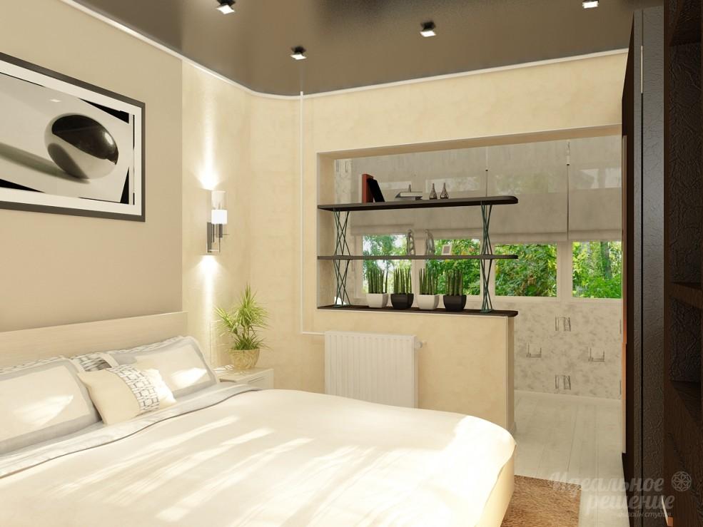 Дизайн спальной комнаты совмещенной с балконом / дизайн студ.